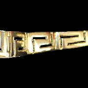 14K  Graduated Greek Key Gold Bracelet - 1980's
