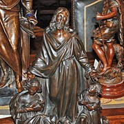 19th Century Bronze Sculpture of Jesus and Two Children