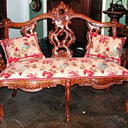 Unique French Louis XV Walnut Settee