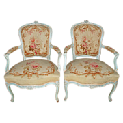 Pair of Louis XVI Style Tapestry Fauteuils