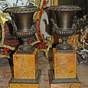 Pair of Bronze Tazzas on Sienna Marble