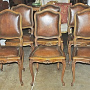 Very Nice Set of Six Louis XV Style Leather Chairs