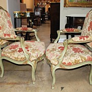 Elegant Pair of French Louis XV Style Armchairs