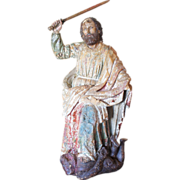 SOLD Large 18th Century Polychromed Wood Statue