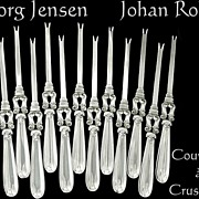 SOLD Georg Jensen J.Rohde Sterling Silver Rare Crustaceans Service 12 pc.