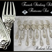 SOLD French Sterling Silver Flatware Set - Lion Head- for 6. R. Linzeler