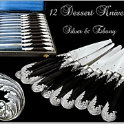 SOLD Antique French Sterling Silver & Ebony Dessert Knives Rococo