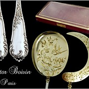 SOLD Victor Boivin ; French Sterling Silver & Vermeil  Ice Cream Servers. 2p.