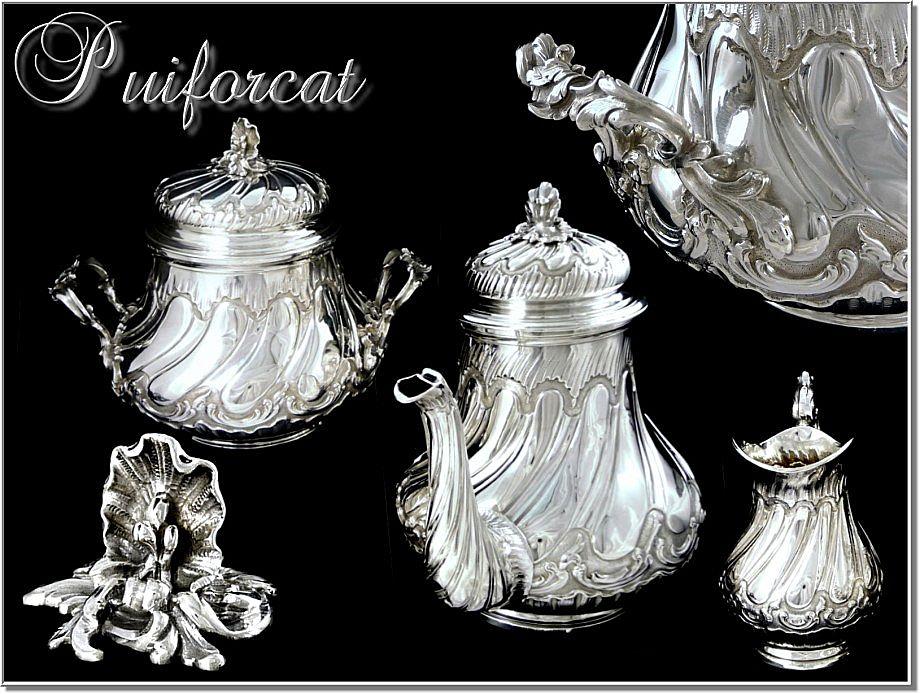 PUIFORCAT :  Antique French Sterling Teapot  Set - Louis XV  Rocaille