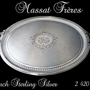 SOLD Antique French Sterling  Silver Tray with Guilloche Napoléon III Style 2 420 Gr.