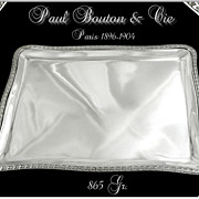 SOLD PAUL BOUTON & Cie - Antique French Sterling Silver Tray Louis XVI Style Paris 1896