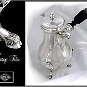 SOLD Antique French Sterling Silver Coffee or Chocolate Pot - Head to Head. XIX°s.Fray Fils