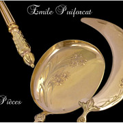 SOLD Puiforcat ; Sterling Silver and Vermeil Ice Cream  Serving 2 Pieces & Box