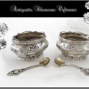 SOLD J. Crossard - French Sterling Silver Pair of Salt Cellars & Salt Spoons Minerve