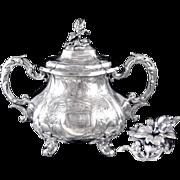 SOLD Antique French Sterling Silver Sugar Bowl Napoleon III- MartialFray Paris.