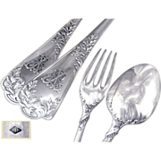 SOLD Puiforcat - Antique French Sterling Silver Flatware Set for 10 - Dinner - 20 pieces with