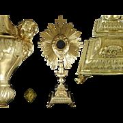 SOLD French Sterling Silver Vermeil Imposing Monstrance Ostensoir Paris 1819-1839
