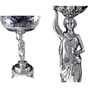 SOLD Debain & Flamant - Antique French Sterling Silver & Crystal Centerpiece. Minerve