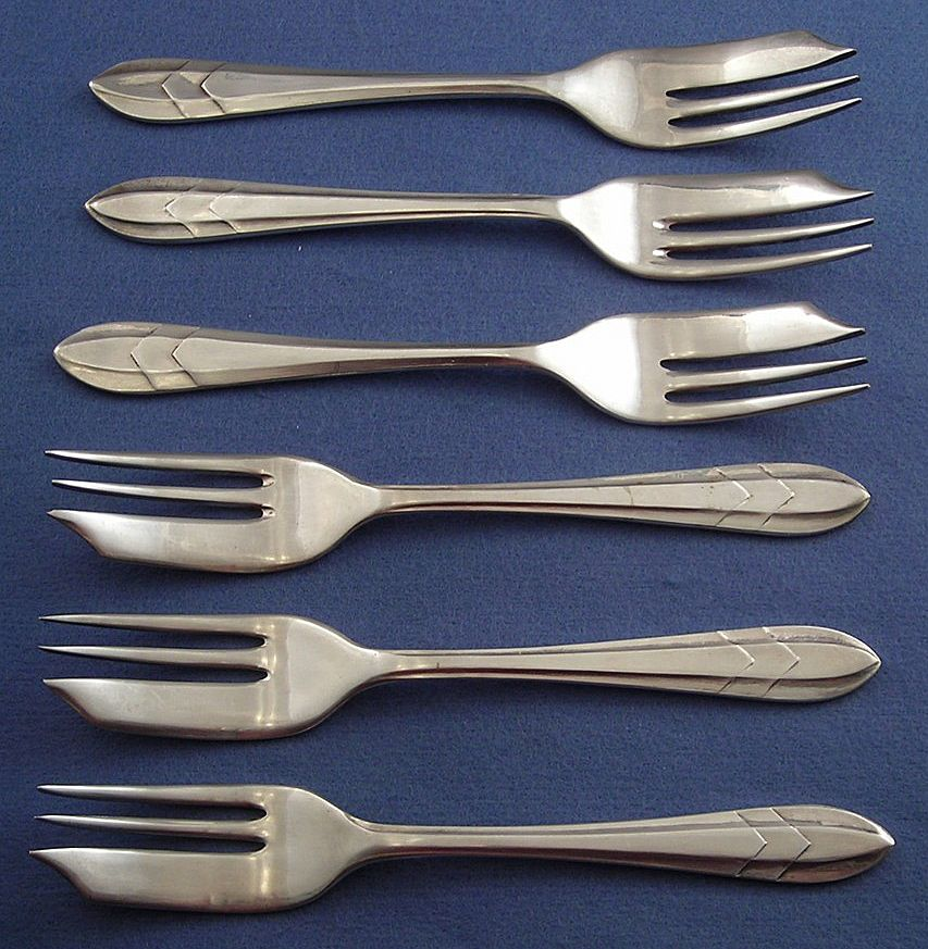 Six Silverplated Loxley Pastry Forks - Sheffield, England