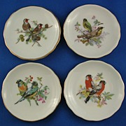 Set of Four Vintage Bird Butter Pats Japan