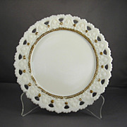 Decorative Milk Glass Plate with Gilded Trim