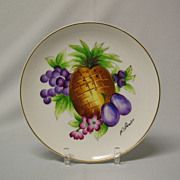 Bond Ware Signed Handpainted Pineapple and Fruit Plate