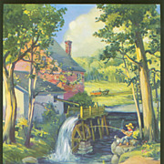Vintage Lillian Thoele Calendar Print - By The Old Mill