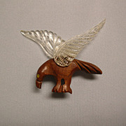 Carved Wood and Lucite Bird Pin Brooch 1940s