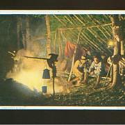 Camp Fires At Night - Detroit Pub. Co. Phostint Postcard - 1909
