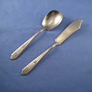 National Silver Martinique Silverplated Sugar Spoon & Master Butter