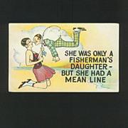 Comic Fishing Postcard - Circa 1920