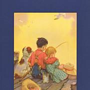 Raymond James Stuart Calendar Print - Children Fishing