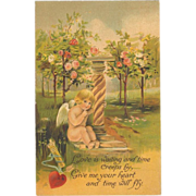 Embossed Gilded Valentine Card - Blonde Cupid in Rose Garden