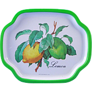 SOLD Lithographed Tin Snack Tip Tray - Lemons - circa 1960