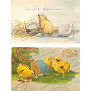 SOLD Easter Chicks Postcard Pair