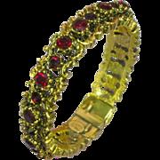 Pauline Rader Red Rhinestones Hinged Clamper Oval Bangle Bracelet