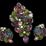 D&E Rare Purple Pink Watermelon Rhinestone Pin, Brooch,and Earrings Set, Demi Parure