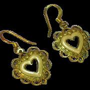 SALE Enamel Pink Vintage Filigree Heart Pierced Earrings
