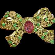 50% OFF Enamel Radiant BIG Rhinestone Floral Bow Shape Brooch,Pin