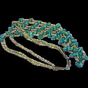 "Turquoise Triple Strand Vintage American Indian Santo Domingo Pueblo Heshi 26"", 28"""