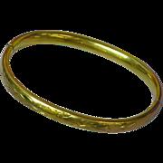 Antique Victorian Gold Filled Hinged Floral Motif Bangle Bracelet