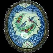 SALE Enamel Persian Signed Qajar Flowers Birds Handpainted Sterling Silver Brooch Pin