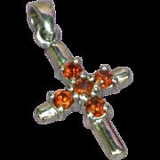 Crystals Petite Red,Orange Cross Sterling Silver Pendant