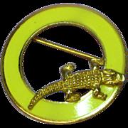 SALE 50% OFF SALE Enamel Yellow Circle Pin Eye Glass Holder w/ Alligator Brooch