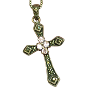 SALE Genuine Pink Sapphires Marcasite Cross Pendant Sterling Silver Marked Chain Necklace