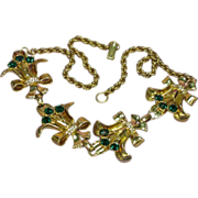 Art Deco RARE,Vintage Clear & Green Crystal, Unsigned Beauty Necklace