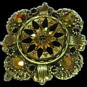 SOLD Florenza Ornate Rhinestones 1960's Unsigned Victorian Revival Pin Brooch Pendant