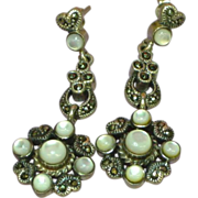 Marcasite Sterling Silver MOP Dangle Pierced Earrings
