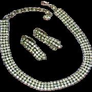 Sherman Signed Vintage Swarovski Crystals Rhinestones Necklace and Earrings Demi Parure