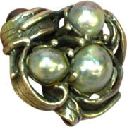 Sterling Silver Massive Hand Crafted Baroque Pearl Art Nouveau Ring